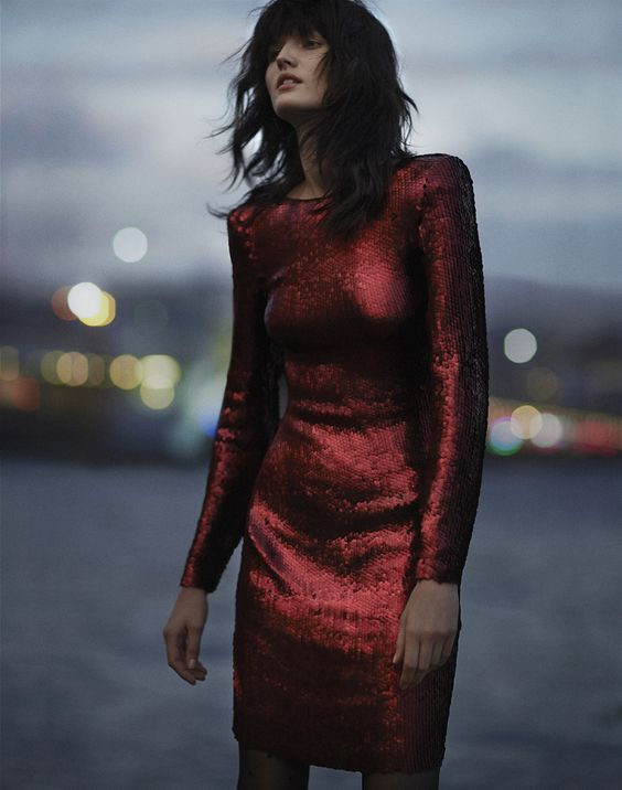 red sequin dress classic long sleeve