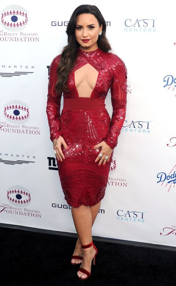 red sequin dress cut out