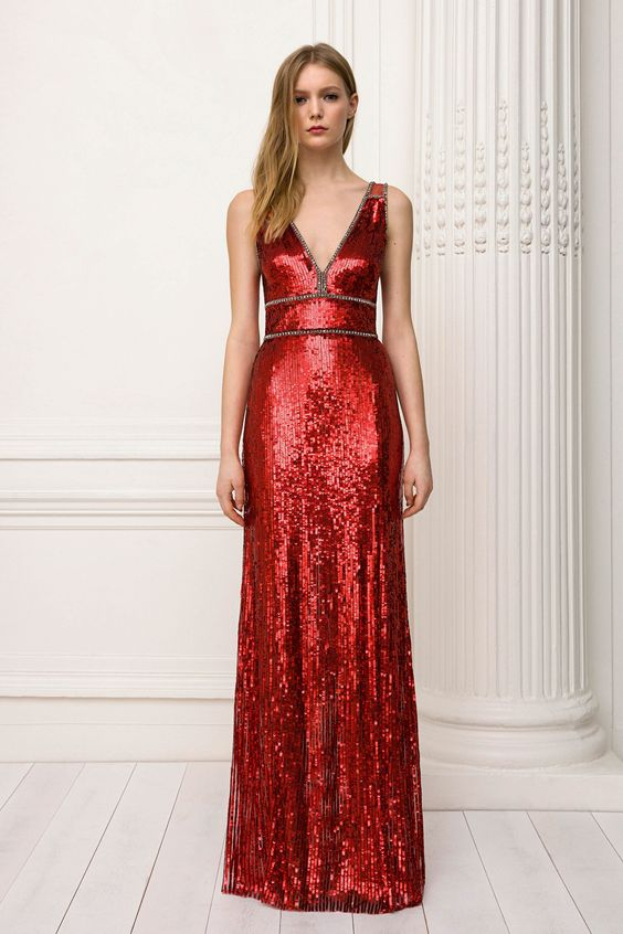 red sequin dress long special