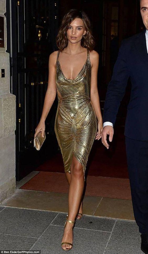 gold sparkling dress cowl neck