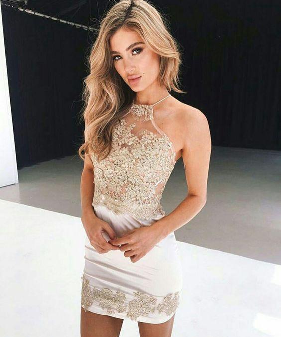 gold sparkling dress halter neckline