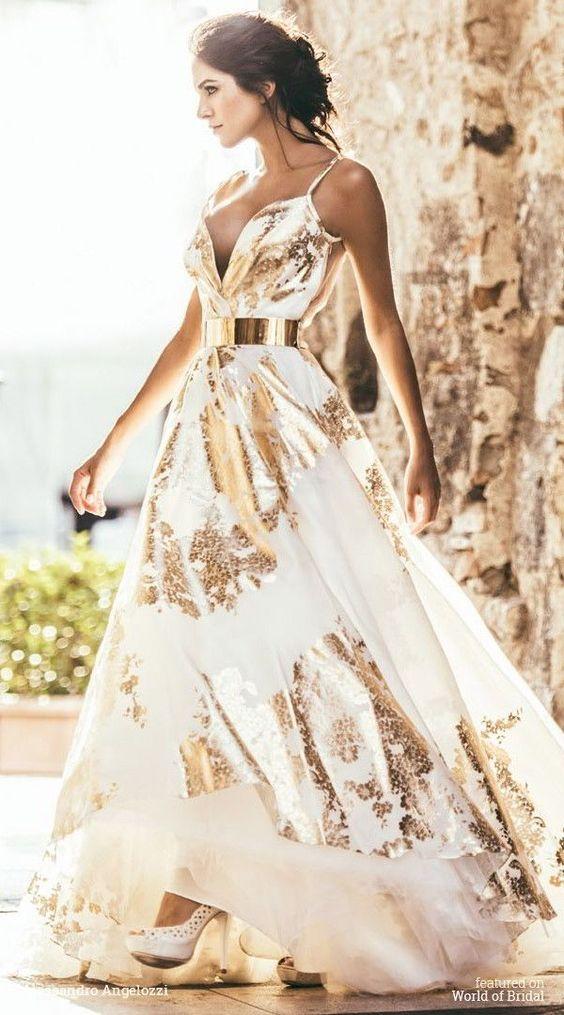 gold sparkling dress floral
