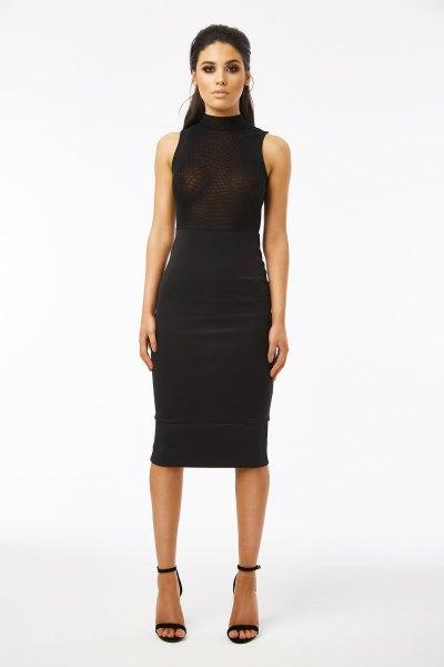 black midi dress mesh overlay