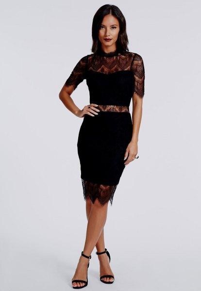 black faux two-piece dress lace details