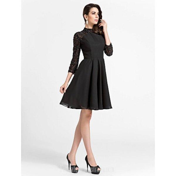 black lace sleeve skater dress