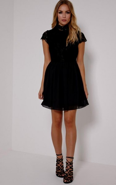 black short-sleeved tulle dress with high neck