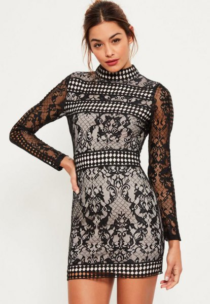 black and white tribal lace dress with high neck