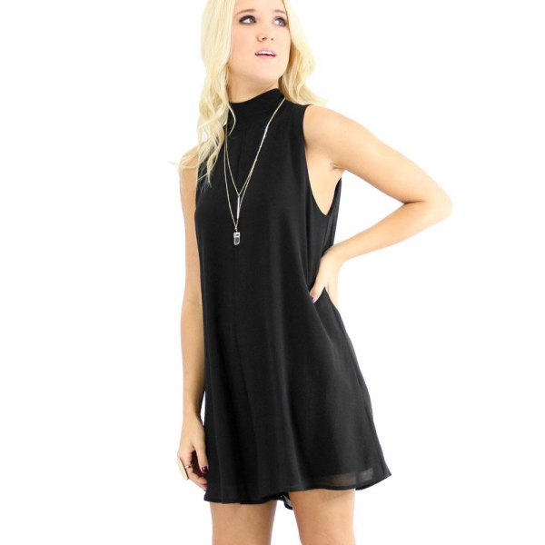 black chiffon shift dress with high neck