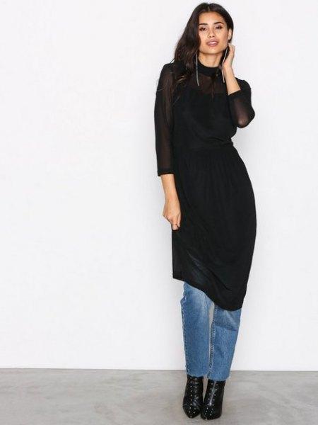 black mantle midi dress over jeans