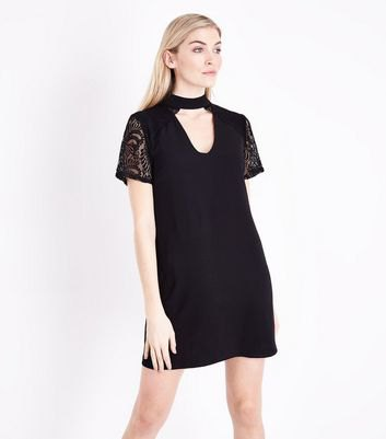 lace sleeve choker t-shirt dress