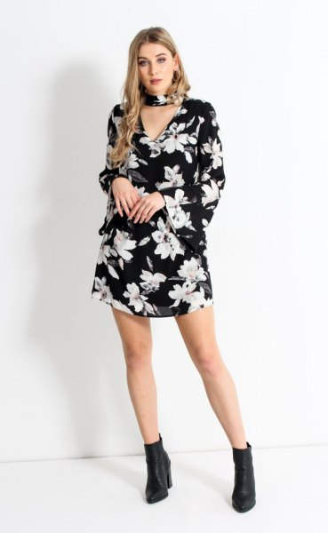 black floral choker watch sleeve shift dress