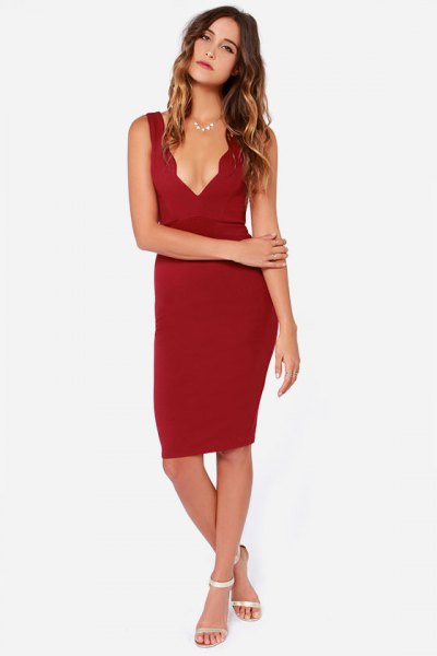 peeled neckline deep v-neck bodycon dress