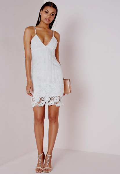 white deep v-neck bodycon dress lace overlay
