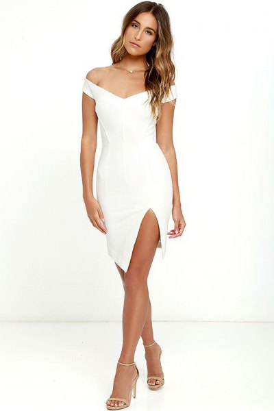 white off shoulder mini bodycon dress column