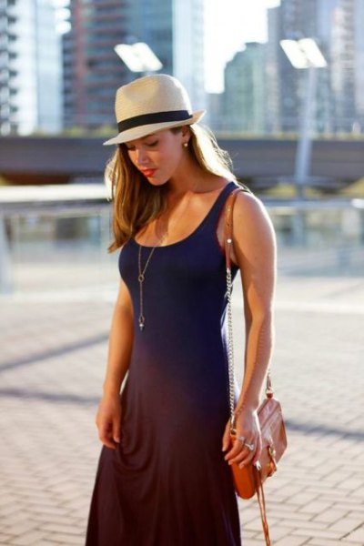 navy blue sleeveless fit and flare maxi dress