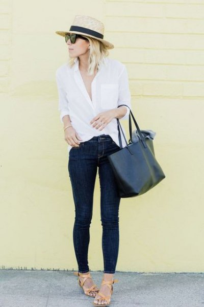 straw hat white button up shirt slim jeans