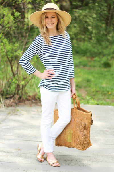 navy and white striped tee-white jeans