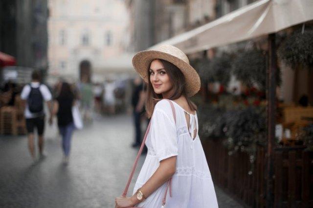 straw hat white boho baby doll dress