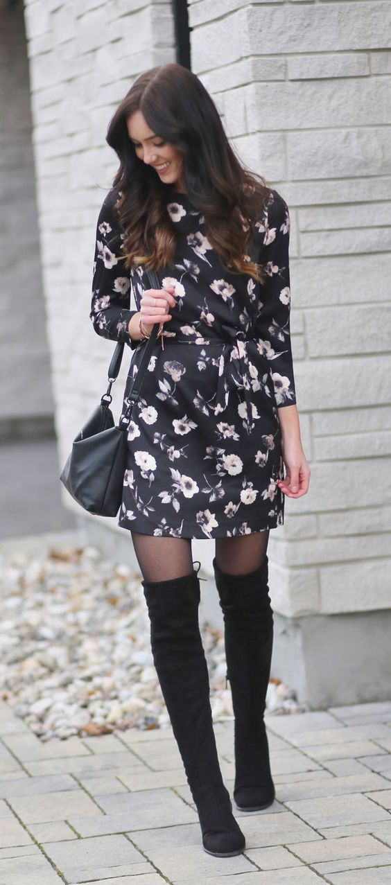 black satin dress floral