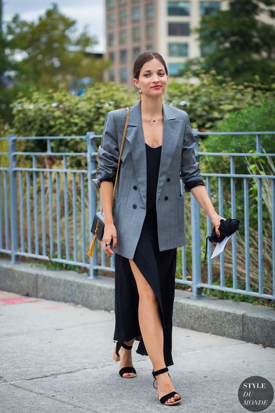 black satin dress checkered blazer