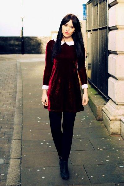 white collar burgundy skater dress