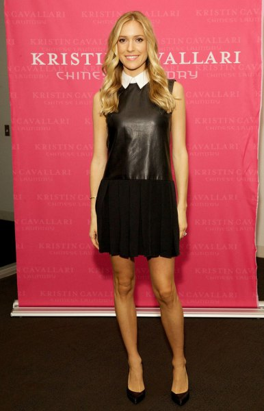 two toned leather and black black dress in cotton
