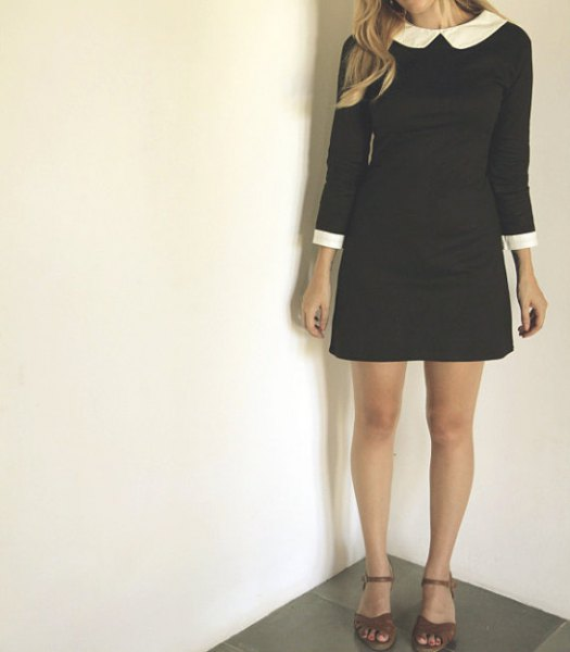 white rounded collar black mini dress