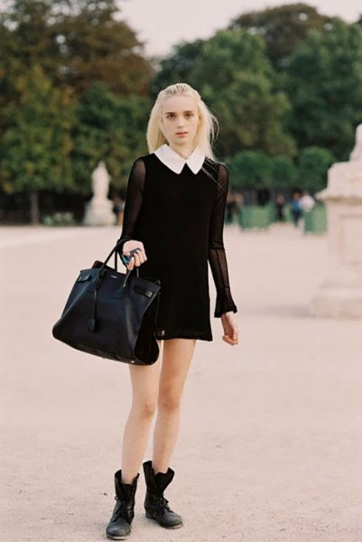 white collar black dress clean sleeves