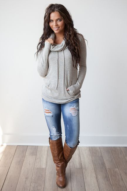 sweater with a gray-brown neck