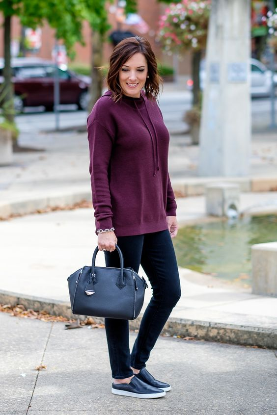 sweater with purple necklace