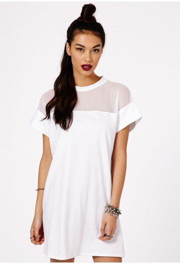 white pure shoulder mesh shift dress
