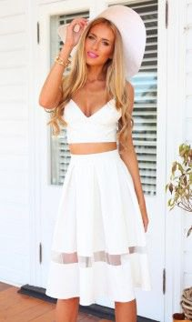 two pieces white deep v-neck mesh skater dress
