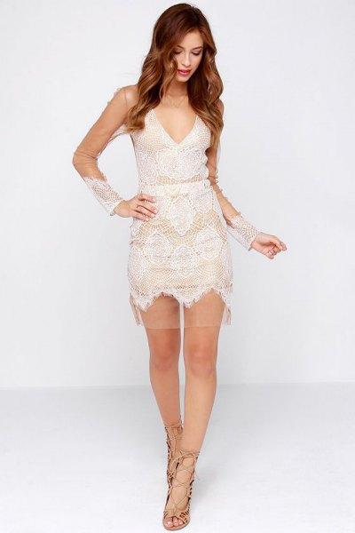 white deep v-neck lace mini dress mesh overlay