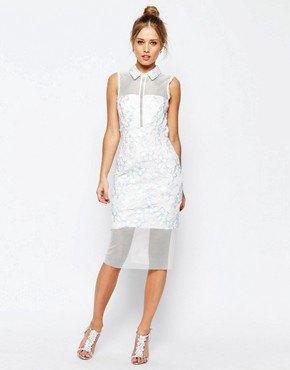 white collar mesh bodycon dress