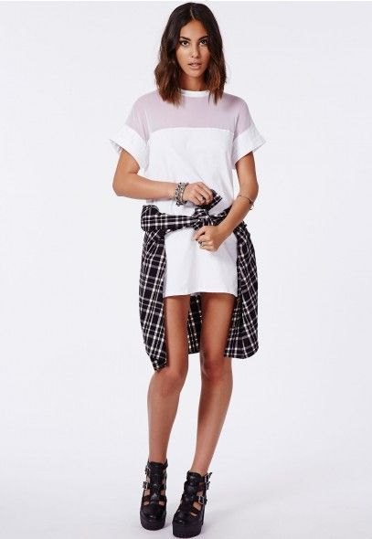 white shift dress plaid shirt tied around the waist