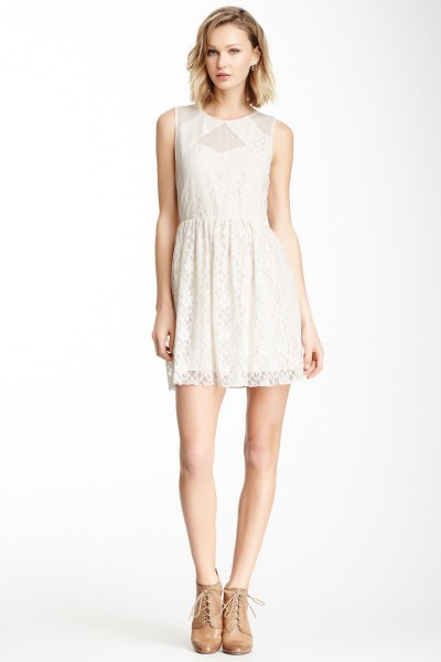white lace dress mesh detail around the collar