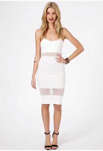 white spaghetti strap faux two-piece mesh dress