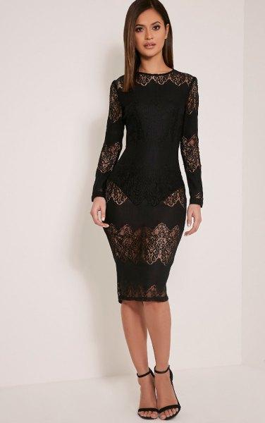 black half lace bodycon dress