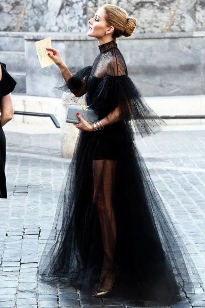 black chiffon tulle dress clean shoulders and tail