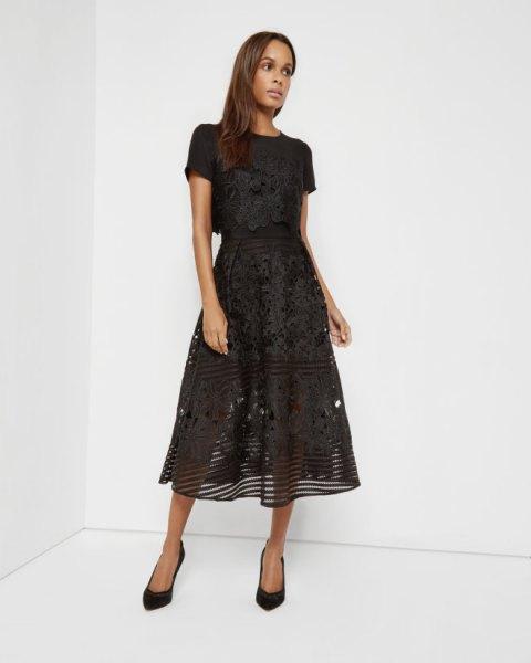 black semi floral lace midi dress