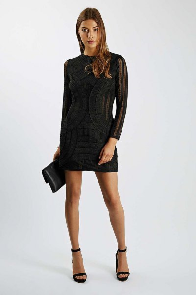 black long sleeve semi sheer bodycon dress