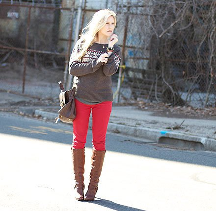 gray sweater knee high boots
