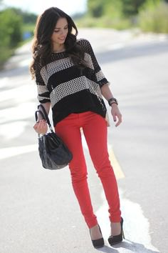 black and gray striped knit sweater
