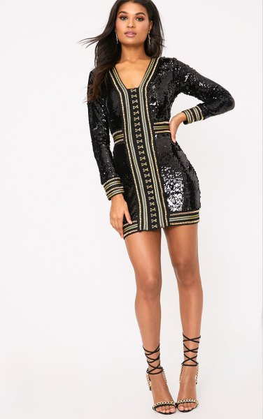 black sequin decorated bodycon dress