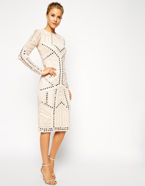 white ornate robe knee length dress