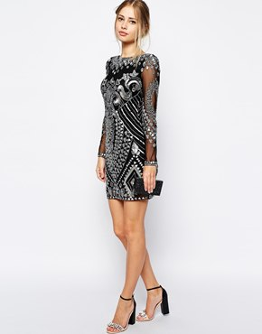 black and silver bodycon ornate shift dress