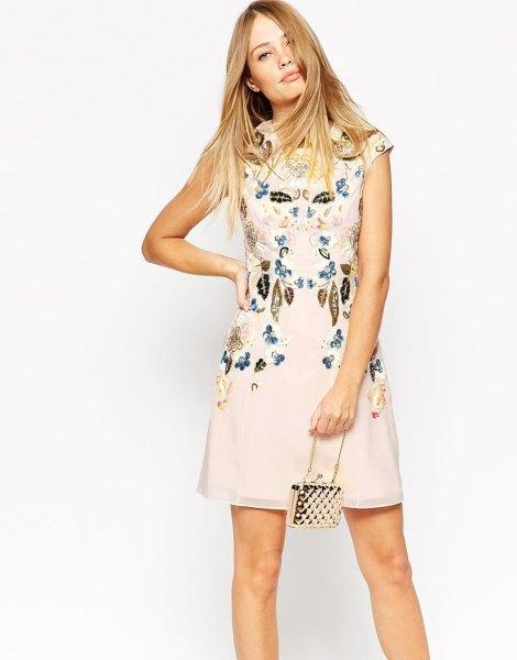 white a line floral dress