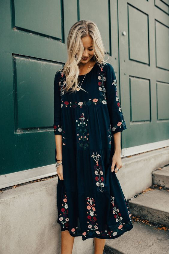 floral floral dress embroidery