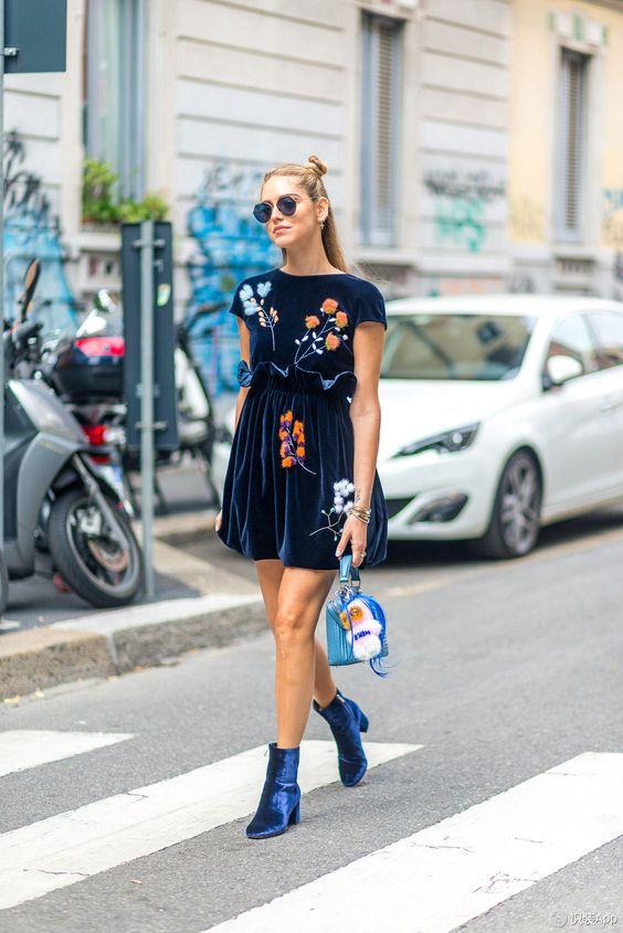navy blue floral dress velvet