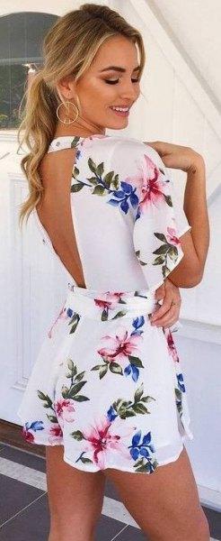 white flatter sleeve open back mini dress
